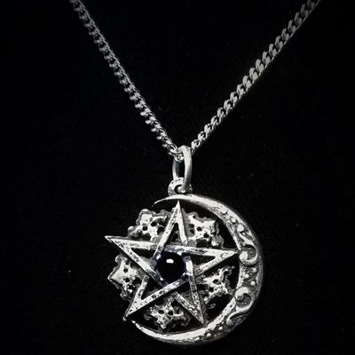 "Collier Gothique Arcana XIII ""Wicca Pentagram Moon"""
