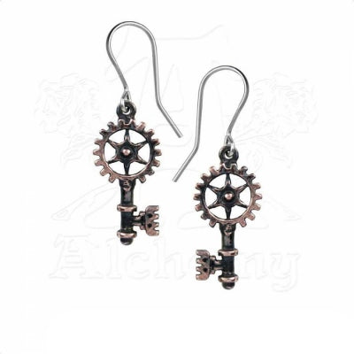 "Boucles d'oreilles Alchemy Gothic Steampunk ""Clavitraction"""