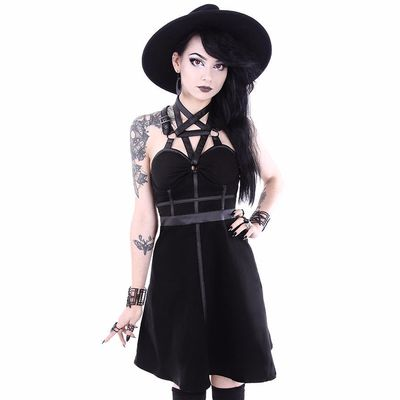 "Robe Gothique Restyle ""Pentagram Party"" avec harnais"