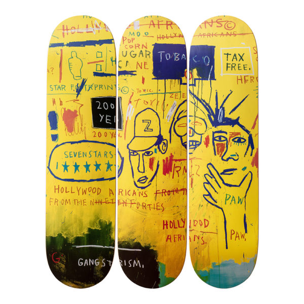 Hollywood Africans, Triptyque de Skates Jean-Michel-Basquiat, par The Skateroom