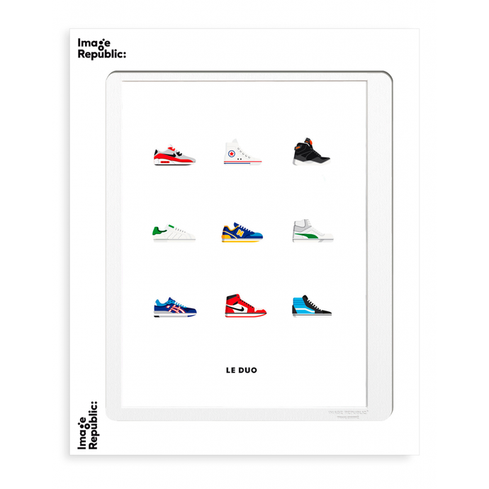 Illustration par le Duo - 9 baskets mythiques ( converse, air force..) sur fond blanc