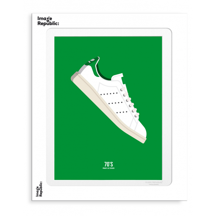 Illustration par le Duo - Basket Stan Smith sur fond vert