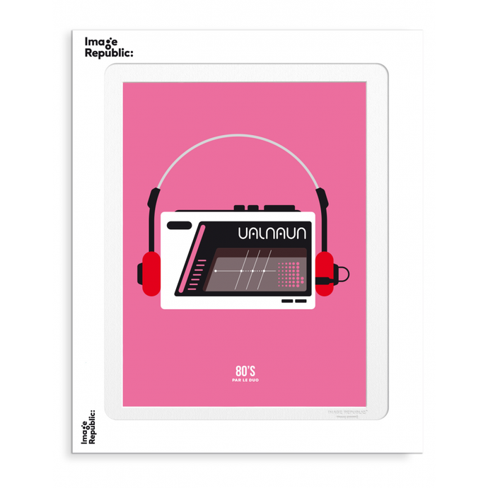 Illustration d'un walkman sur fond rose par le duo