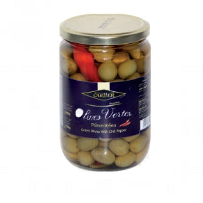 CARTIER OLIVES VERTES PIMENTEES 720gr BOCAL (WITH CHILI PEPER)