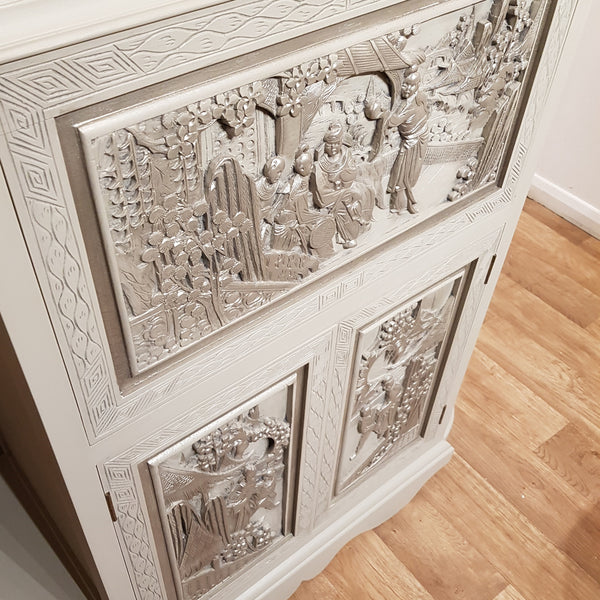 Oriental Carved Drinks Cabinet painted using Frenchic Paints