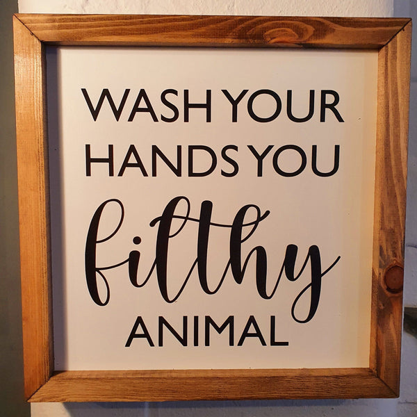 Wash Your Hands Wall Sign - Knot 2 Shabby Uk