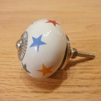 Multi Coloured Stars Ceramic Knob - Knot 2 Shabby