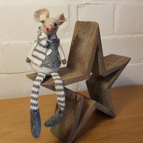 Small Festive Mouse - Grey 28cm - Knot 2 Shabby Uk