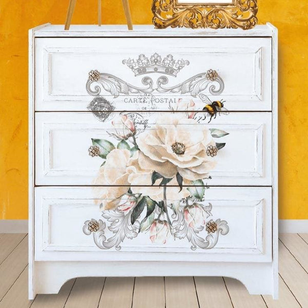 "Hokus Pokus Rub-On Furniture Transfer - Fleur Frisée - 11"" x 15"" Portrait Design - Knot 2 Shabby"