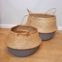 Pair of 2-Tone Seagrass Baskets