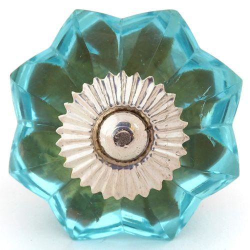 Blue Glass Melon Knob - Knot 2 Shabby