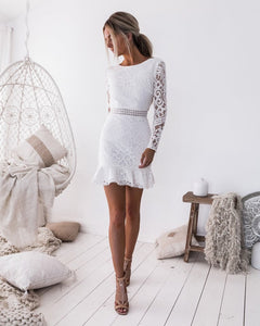 Backless White Lace Dress