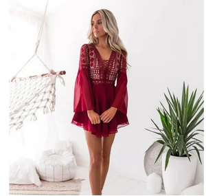Red Bohemian Lace Long Sleeved Dress
