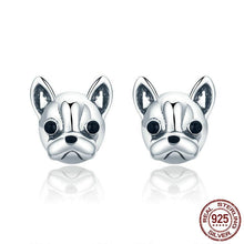 Load image into Gallery viewer, French Bulldog Sterling Silver Earrings