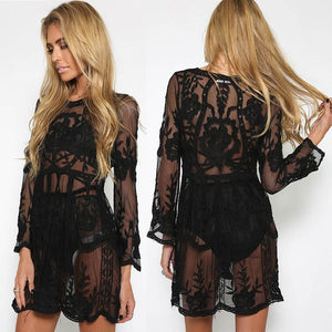 Black Heavy Lace Over Dress