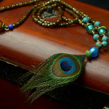 Load image into Gallery viewer, Handmade Peacock Feather Necklace