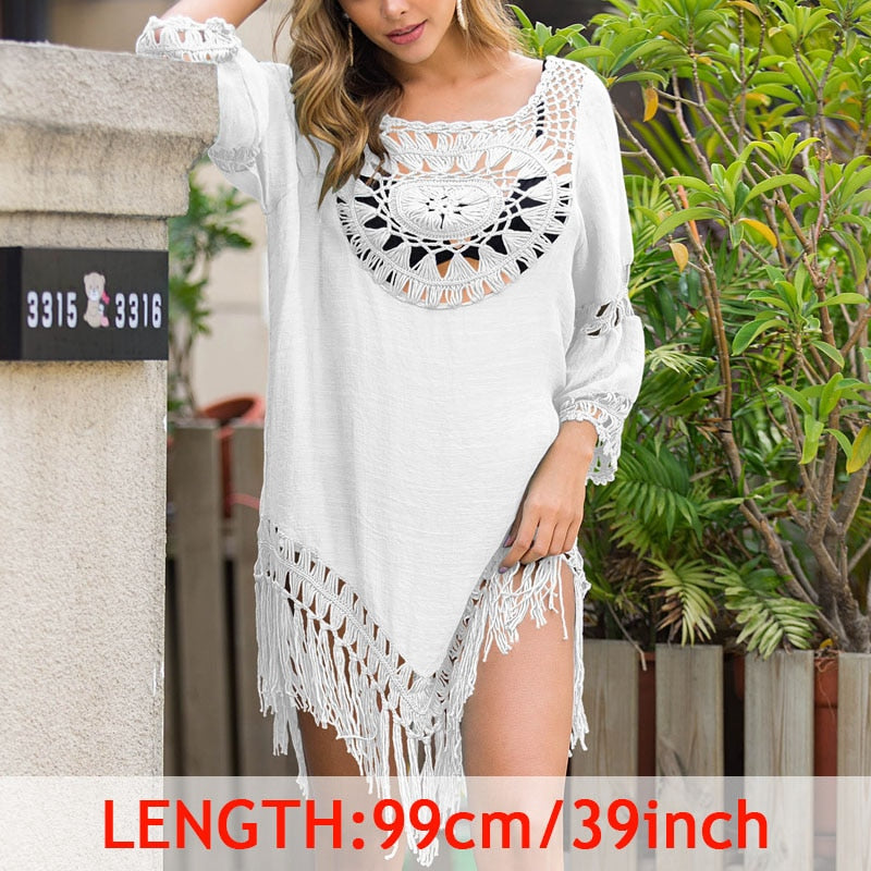 INGAGA Sexy Tassel Cover Ups Tunic Swimsuit 2020 Beach Dress Tropical Hollow Out Beachwear Black Backless Summer Swimwear New