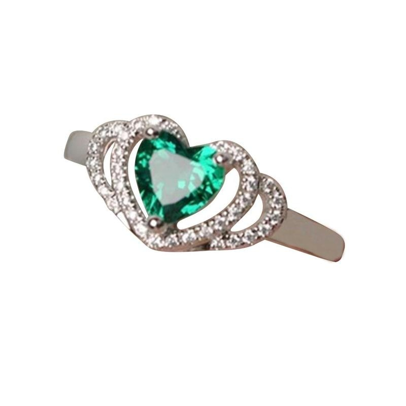 New Green Zircon Heart Ring Romantic Crystal Double Hearts Silver Finger Rings For Women Wedding Engagement Jewelry Bague Gifts