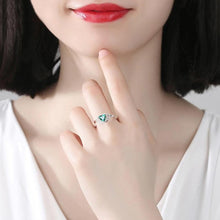 Load image into Gallery viewer, New Green Zircon Heart Ring Romantic Crystal Double Hearts Silver Finger Rings For Women Wedding Engagement Jewelry Bague Gifts