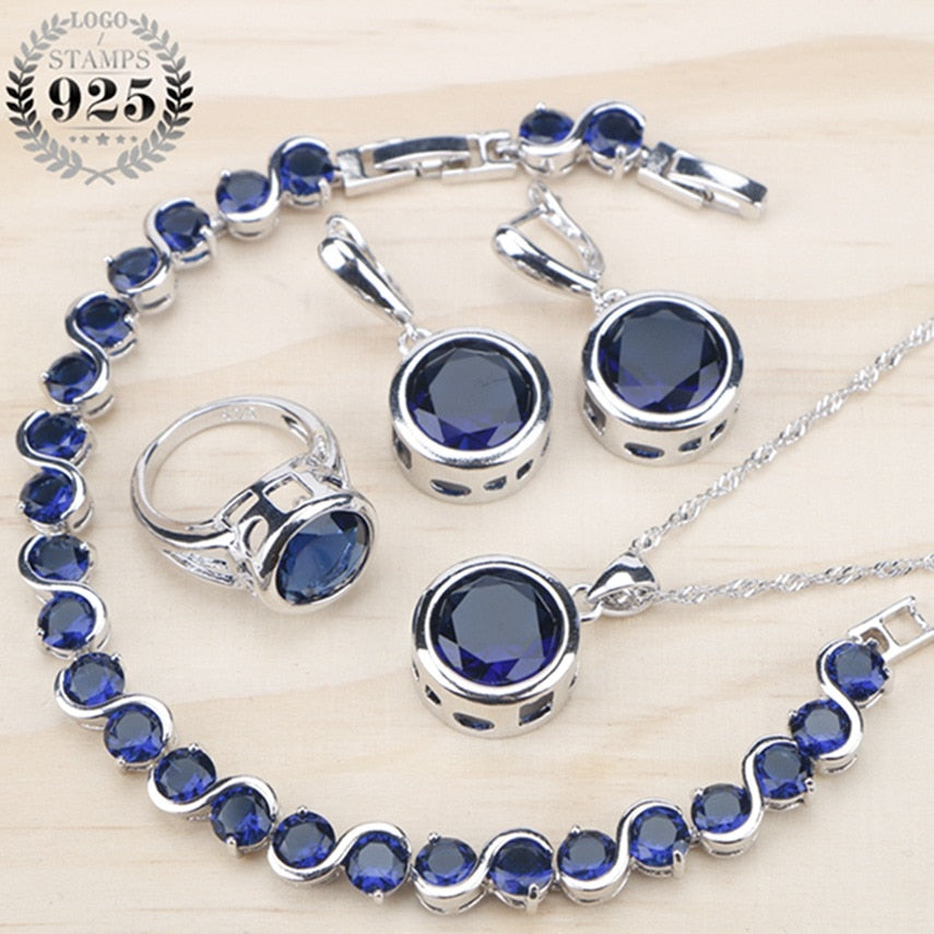Ladies Silver 925 Jewelry Sets For Women 2018  Blue Cubic Zirconia Rings/Bracelets/Earrings/Pendant Necklace Set Free Gift Box
