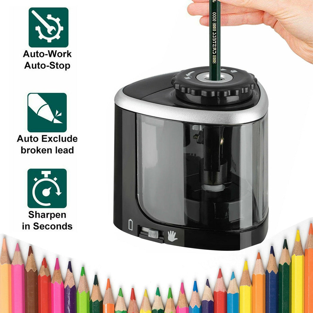NEW 1PCS Electric Auto Pencil Sharpener Safe Student Helical Steel Blade Sharpener for Artists Kids Adults Colored Pencils