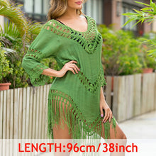 Load image into Gallery viewer, INGAGA Sexy Tassel Cover Ups Tunic Swimsuit 2020 Beach Dress Tropical Hollow Out Beachwear Black Backless Summer Swimwear New