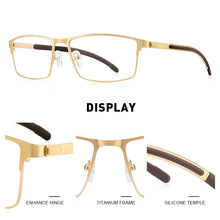 Load image into Gallery viewer, MERRYS DESIGN Men Titanium Alloy Optical Glasses Frame Ultralight Square Myopia Prescription Eyeglasses Antiskid Silicone S2186
