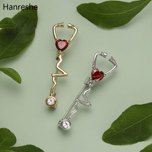 Fashion Medical Stethoscope Lapel Brooch Pin Inlaid Red Natural Zircon Heart Alloy Badge Pins Doctor Nurse Hospital Gift Jewelry
