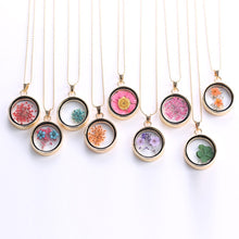 Load image into Gallery viewer, Popular Korean Round Pendant Necklace Womens Long Gold Bead Chain Colorful Specimen Dried Flower Necklace Jewelry For Girls