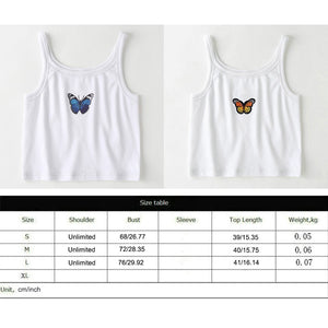 Butterfly Print Tank Tops Women Sexy Halter Vest  Clothing Party Club Bustier Summer Spring White Bottoming Cropped Sports Crops