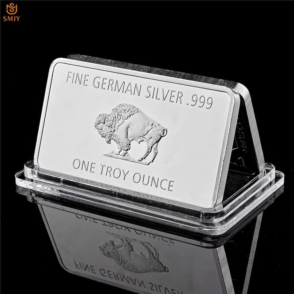 Fine Germany Silver Mint 1 Troy Ounce Buffalo Euro Silver Bullion Bar Replica Coins Collection
