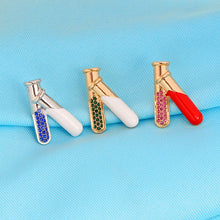 Load image into Gallery viewer, QIHE JEWELRY Test Tube Flasks 3 Color Pins Brooches Medical Jewelry Chemistry Jewelry Gift for doctor nurse medical school