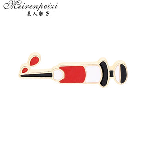 Meirenpeizi Test tube Syringe Aambulance Blood Pressure Intestines Pins Medical Jewelry Gift Doctor Nurse Medical School Jewelry