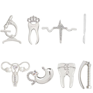 Medical Brooch Alloy Tooth Microscope Laryngoscope Scalpel Heartbeat Stomach Women's womb Brooches Pins Badges for Doctor Nurse