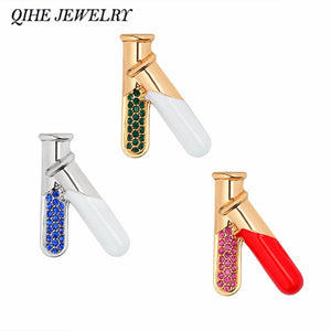 QIHE JEWELRY Test Tube Flasks 3 Color Pins Brooches Medical Jewelry Chemistry Jewelry Gift for doctor nurse medical school