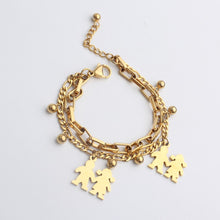 Load image into Gallery viewer, FINE4U B125 Stainless Steel Tree Owl Boy and Girl Charm Bracelet Double Layer Gold Figaro Chain Bracelets For Men Women