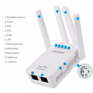 2.4G / 5G WiFi Repeater Signal Booster Dual Band Wireless AC Extender Router Amplifier WPS With 2 High Gain Antennas