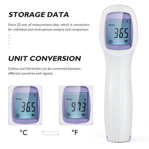 Forehead Non-contact Infrared body Thermometer ABS  for Adults and Children with Lcd Display Digital Laser Temperature Tool 1set
