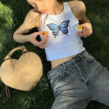 Load image into Gallery viewer, Butterfly Print Tank Tops Women Sexy Halter Vest  Clothing Party Club Bustier Summer Spring White Bottoming Cropped Sports Crops