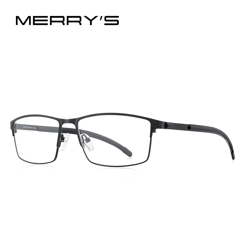 MERRYS DESIGN Men Titanium Alloy Optical Glasses Frame Ultralight Square Myopia Prescription Eyeglasses Antiskid Silicone S2186