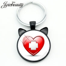 Load image into Gallery viewer, JOINBEAUTY Medical Supplies Ear Pendant Keychains Nurse Doctor Fashion Key Ring Round Glass Cabochon Dome Key Accessories NT295