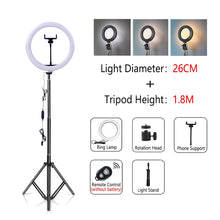 Load image into Gallery viewer, Dimmable LED Selfie Ring Light with Tripod USB Selfie Light Ring Lamp Big Photography Ringlight with Stand for Cell Phone Studio