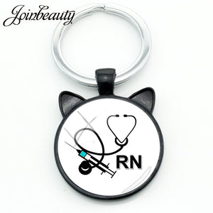 JOINBEAUTY Medical Supplies Ear Pendant Keychains Nurse Doctor Fashion Key Ring Round Glass Cabochon Dome Key Accessories NT295