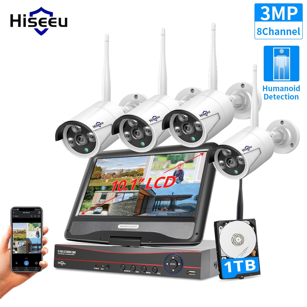 Hiseeu 3MP 2MP 8CH Wireless Security System with 10.1
