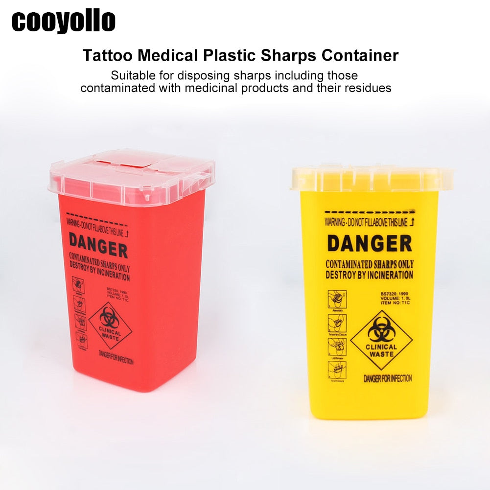 Portable 1L Tattoo Medical Hard Plastic Sharps Container Flip-top Lid Makeup Tattoo Needles Disposal Waste Box Mini Trash Can
