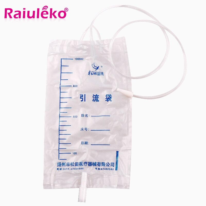 Free Shipping 5 Pcs 1000ml Medical Health Drainage Bag Male Urine Bag Anti-Reflux Urine Collector Bag Urinary Catheter