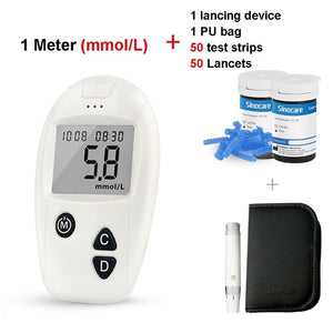 Sinocare Safe-Accu Blood Sugar Meter Glucometer Kit Test Strips Needles Lancets Medical Diabetes Tester Monitoring System