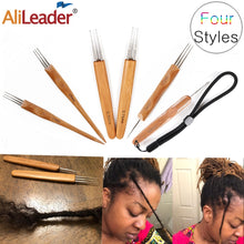 Load image into Gallery viewer, Alileader Crochet Hook For Dreadlocks Wig Needle 1/2/3 Hook Needle Hair Extension Tool Braider 0.5Mm/0.75Mm Bamboo Needle Holder