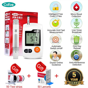 Cofoe Yili Glucometer Medical Glucose Meter Blood Sugar Monitor Diabetes Tester with 50/100pcs Test Strips & Lancets Needles