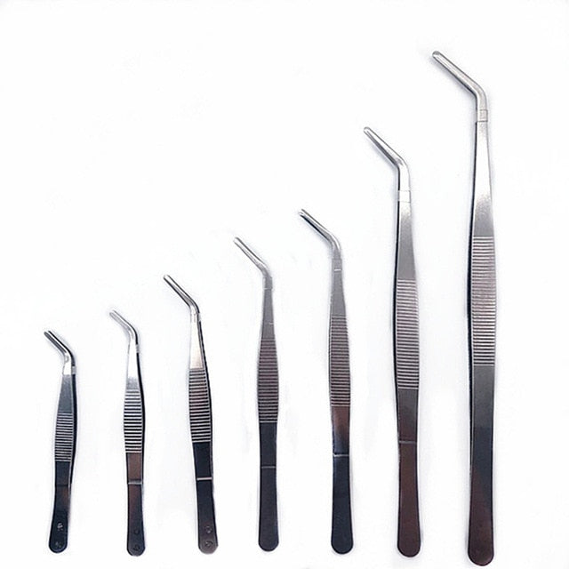 High Quality Stainless Steel 304 Anti-iodine Precision Long Straight Forceps Tweezers 12.5cm-30cm Straight Head Elbow Thicken